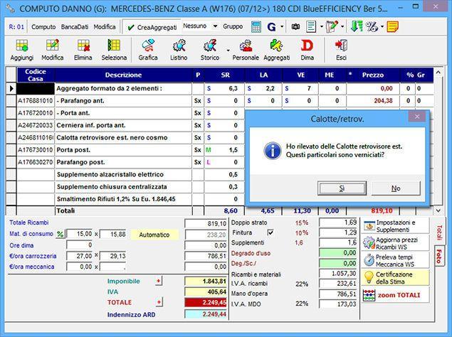 Computo: dettaglio di una quantificazione di una stima di danno auto